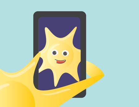 Closeup on Sun character holding a smartphone taking a selfie