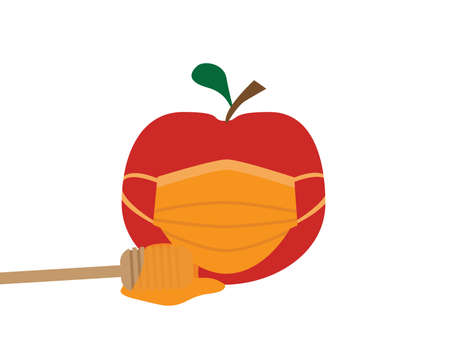Red Apple with Orange Face Mask Cover and Dipper with Honey On White Background Ilustração