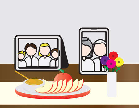 Jewish Holiday Rosh Hashanah Online Meal Table, Tablet and Smartphone with People On The Table