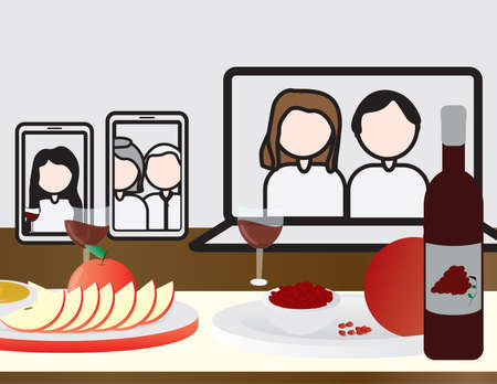 Jewish Holiday Rosh Hashanah Online Meal Table, Laptop, Tablet and Smartphone with People On The Table Ilustração