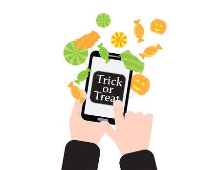 Online trick or treat, Hands holding smartphone, touching the trick or treat button and candies flying