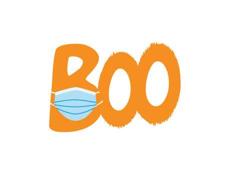 Boo icon with White Orange letters wearing Blue surgical mask on White background Ilustração