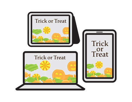 Online trick or treat set, smartphone, tablet and laptop with trick or treat text and candies