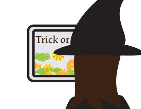 Online trick or treat, girl with witch hat looking at a screen with trick or treat text and candies