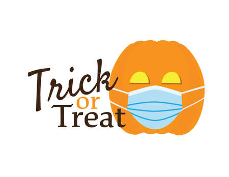 Trick or treat symbol with Cute Orange pumpkin wearing Blue surgical mask