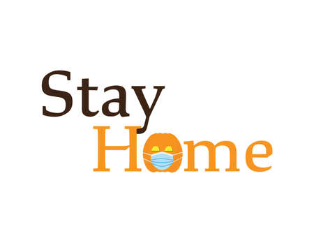 Online Halloween, Brown and Orange text - STAY HOME, with cute Orange pumpkin wearing Blue surgical mask Ilustração