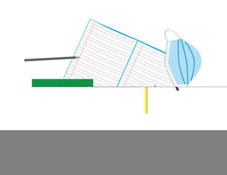 Notebook, pencil case, colored pencils and face mask on White background Ilustração