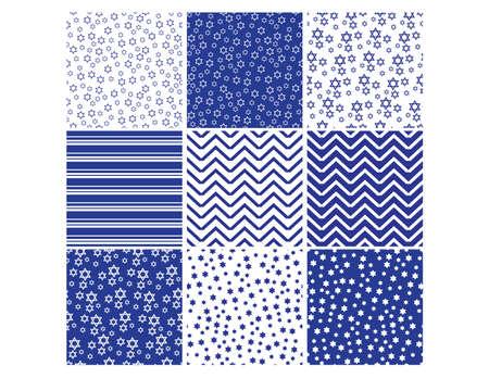 Set of Blue White Star of David seamless patterns