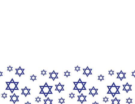 Blue star of David pattern border on White background
