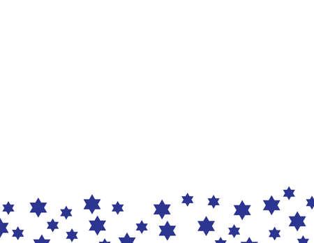 Blue star of David pattern border on White background Imagens - 151574692