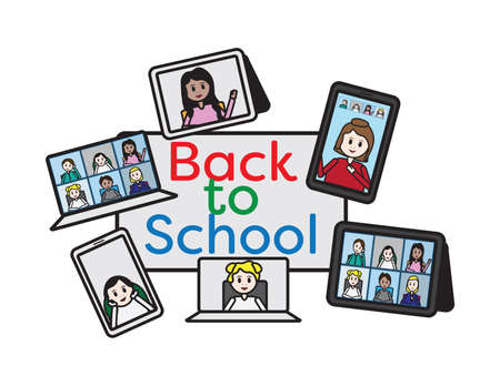 Back to online school set, Teacher and students on laptop, smartphone and tablet screen around a color back to school sign Ilustração