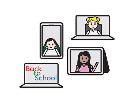 Set of online classroom, kids on laptop, smartphone and tablet screen and color back to school text on laptop screen Ilustração
