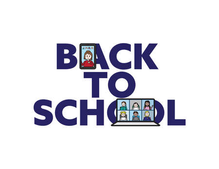 Online back to school vector banner with teacher and students on smartphone and laptop screens Ilustração
