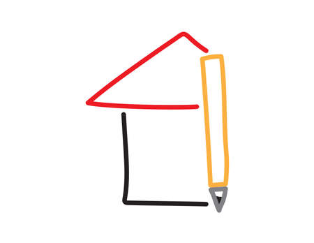 Homeschooling icon - Hand drawn house and pencil on White background