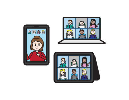 Set of online classroom, Teacher and students on laptop, smartphone and tablet screen