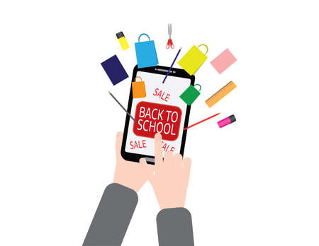 Back to school online sale sign, hand holding smartphone, pressing back to school button, school supplies and shopping bags flying from the smartphone screen Ilustração