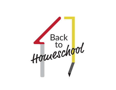 Back to home school icon text, house and pencil on White background Imagens - 151887080