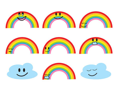 Set of Colorful rainbow and clouds characters on White background