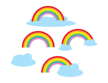 Set of Colorful rainbow and clouds on White background