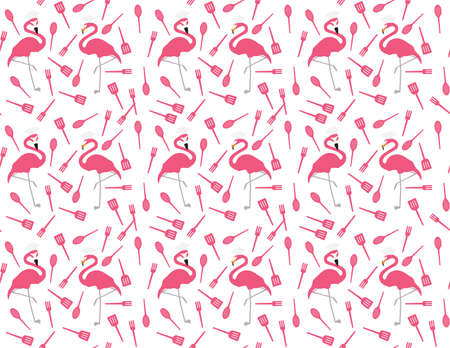 Flamingo chef and kitchen utensils seamless pattern