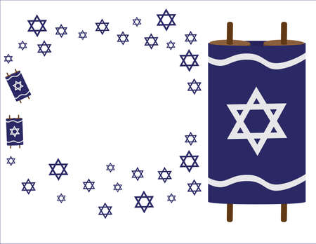 Torah scrolls and Blue star of David symbols on White background Ilustração