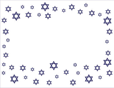 Blue Star of David Frame on White background Ilustração