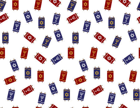 Red Blue Torah Scrolls Seamless Pattern on White Background