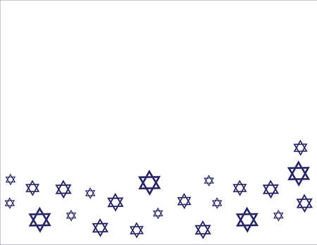 Blue Star of David Border on White background