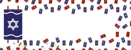 Red Blue Torah Scrolls Seamless Border on White Background