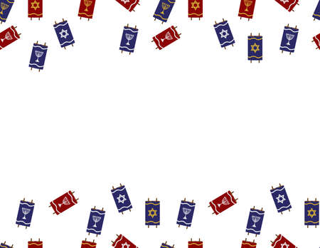 Red Blue Torah Scrolls Border on White Background