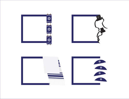 Set of 4 Square templates for Jewish holidays and events, with Torah scroll, Tefillin, Tallit and Kippah Ilustração