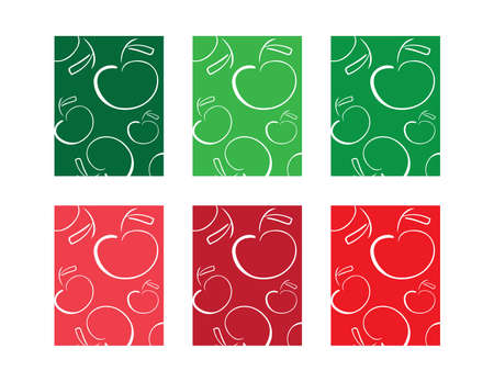 Set of colorful cards with White Apples pattern Ilustração