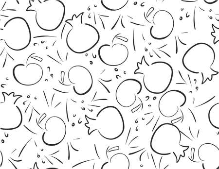 Black White Pomegranates and Apples seamless pattern