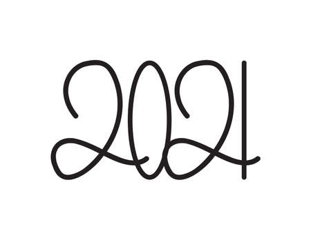 New year 2021 - Black Hand written numbers on White background