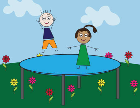 Simple flat illustrated kids jumping on outdoor large trampoline, Blue sky, clouds, Green grass and flowers Ilustração