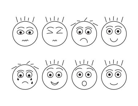 Set of boys heads with different emotions, Black outline illustrated faces Ilustração