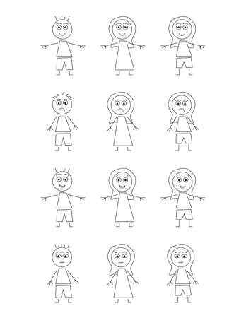 Set of Black and White kids cartoon characters on White background