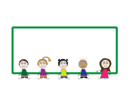 Colorful vector kids sitting in front Green frame on White background Ilustração