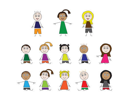 Set of vector kids standing and sitting, on White background
