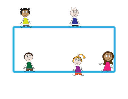 Flat vector kids sitting around Blue blank frame on White background
