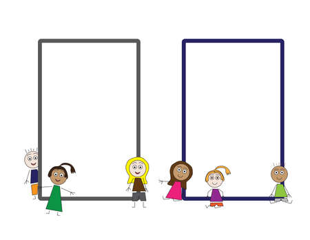 Simple flat vector kids illustration and 2 frames, Colorful kids and frames template Imagens - 154022274