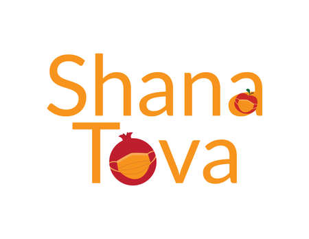 Orange Shana Tova, Jewish happy new year Rosh Hashanah greeting with Red apple and pomegranate wearing Orange face mask