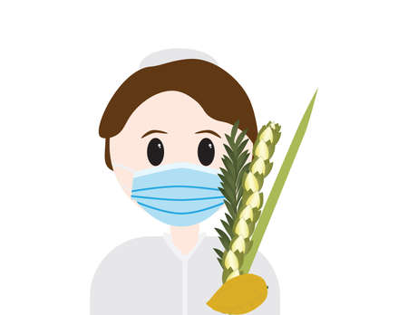 Jewish boy wearing Blue surgical face mask and holding Sukkot four species, on White background Imagens - 154022295
