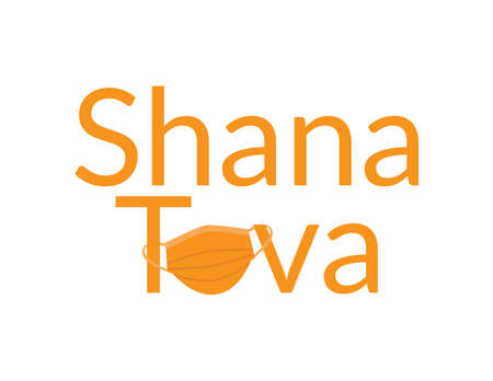 Orange Shana Tova, Jewish happy new year Rosh Hashanah greeting with Orange face mask Ilustração