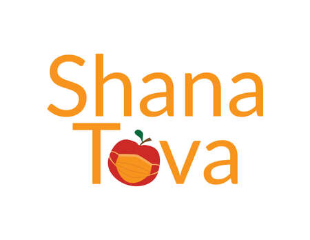 Orange Shana Tova, Jewish happy new year Rosh Hashanah greeting with Red apple wearing Orange face mask