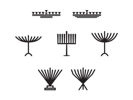 Set of Black hand drawn Hanukkah Menorah, Group of Hanukkah Jewish holiday vector illustration