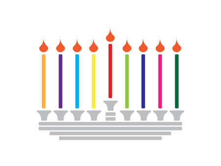 Horizontal Hanukkah banner - Gold Menorah with candles and stars on Black background Ilustração
