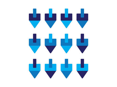 Set of Blue dreidels on White background, Hanukkah Jewish holiday symbol on White background