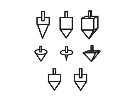 Set of Black hand drawn dreidels, Group of Hanukkah Jewish holiday toy vector illustration