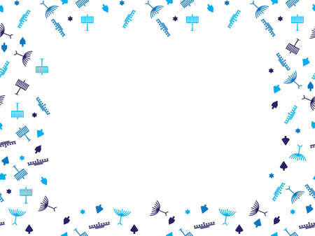 Blue Hanukkah symbols frame - Menorah, dreidel and Star of David frame on White background